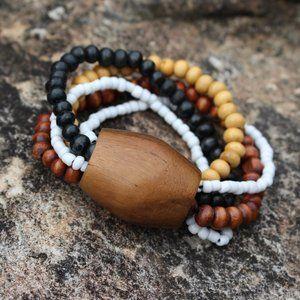 3F25 Wood Teak Natural Stretch Bracelet